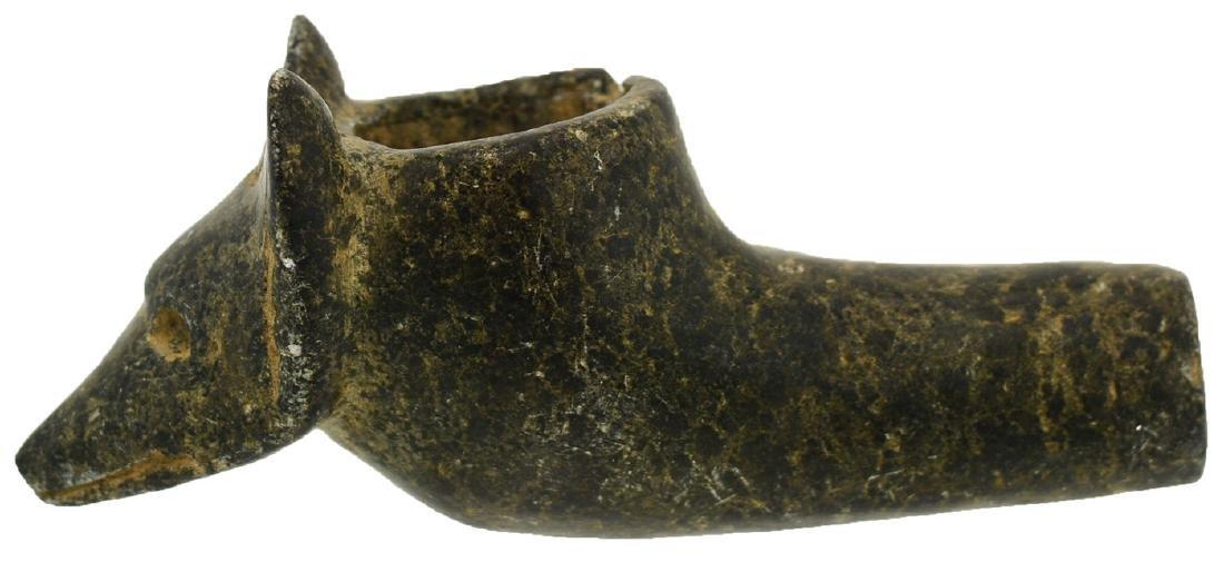 """3 1/8"""" Wolf Head Effigy Pipe.  VA.  Early 1900's."""