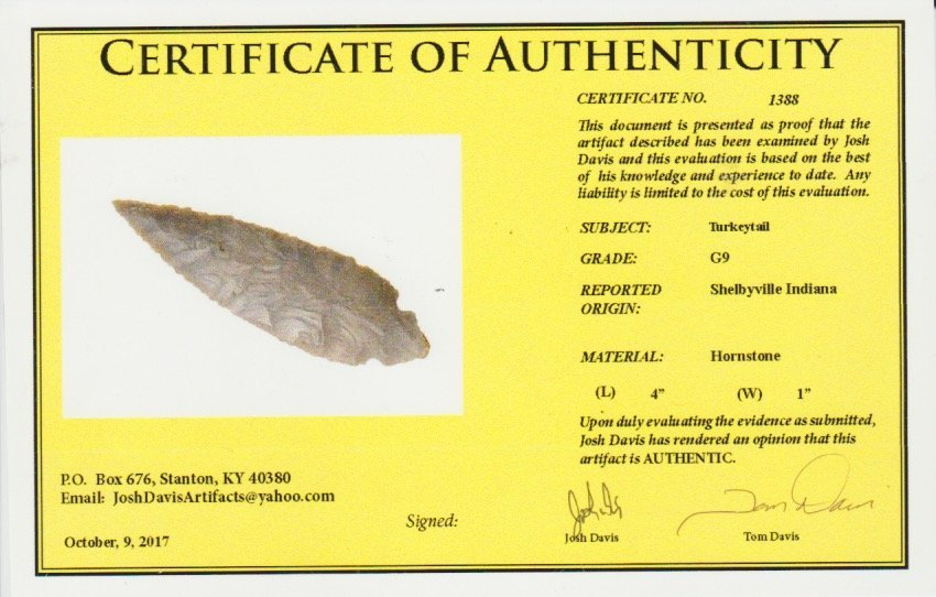 "4"" Turkeytail.  Davis G10 COA.  Shelby Co, IN.  Thin, - 3"