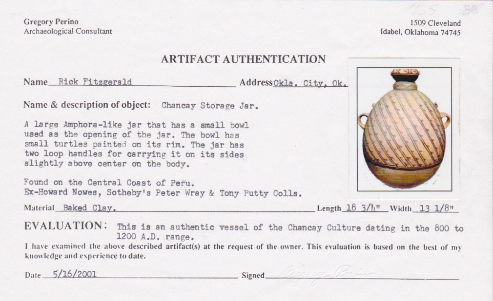 "18 3/4"" H. Amphora Jar.  Peru.  Ex-Rick Fitzgerald. - 2"