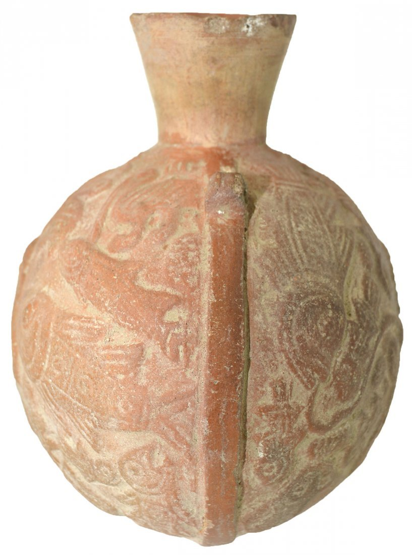 """5 1/2"""" Canteen Bottle decorated with figures.  Chimu. - 2"""