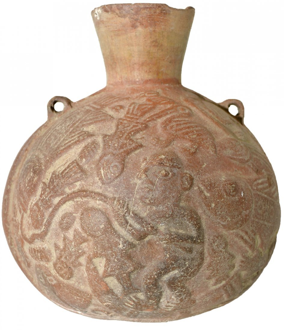 """5 1/2"""" Canteen Bottle decorated with figures.  Chimu. - 3"""