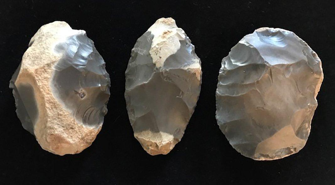 """Three Crib Mound Blades (3 1/4""""-3 1/2"""").  Found by"""