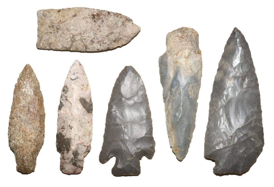 """6 large Shelby Co, Indiana Points.  3""""-4 1/8"""".  Found"""