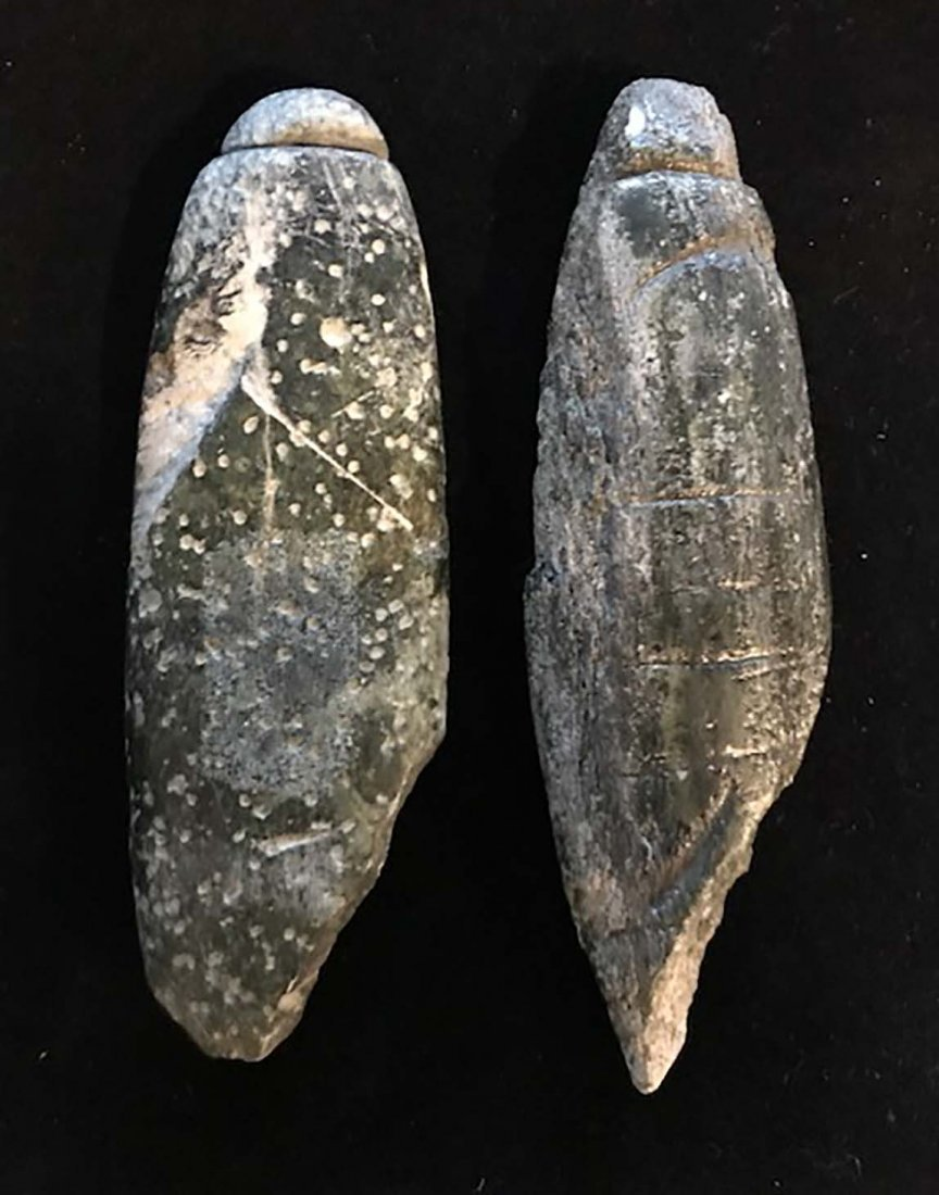 "Two unusual Grooved Charmstones.  4 7/8"" & 5 1/4""."
