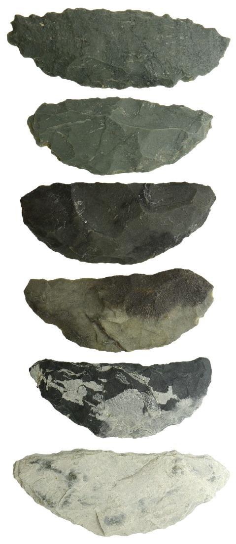 "Six Paleo Crescents (1 5/8"" to  2"").  .  Tulare Lake"