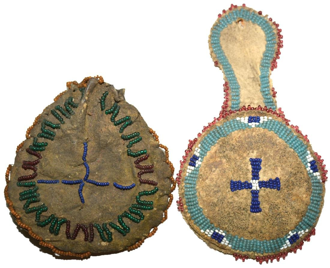 Two Beaded Leather Coin Purses.   Earl Townsend