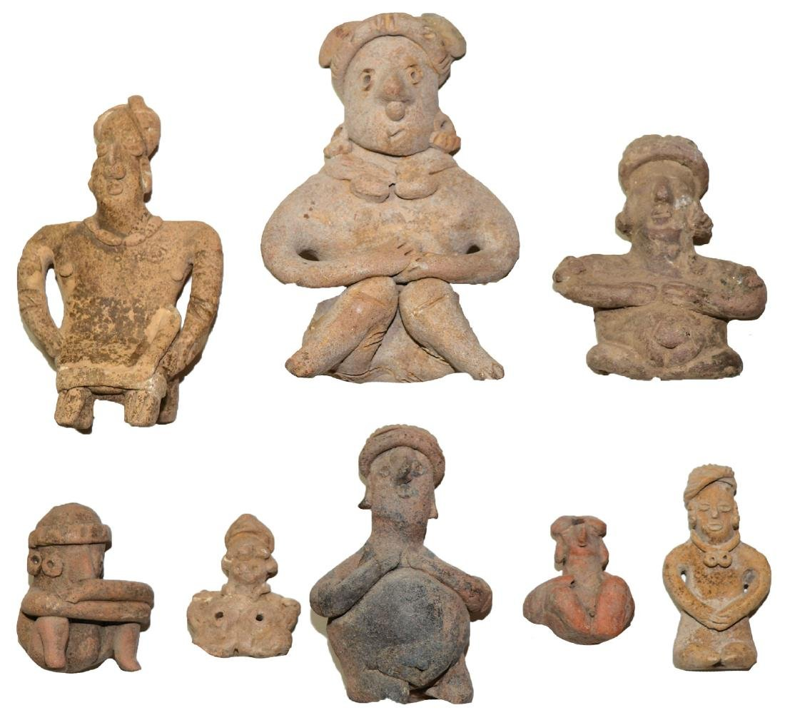 "8 Ceramic Figurines. 1 3/4""-5"".   MX.  ~2000 yrs. old."