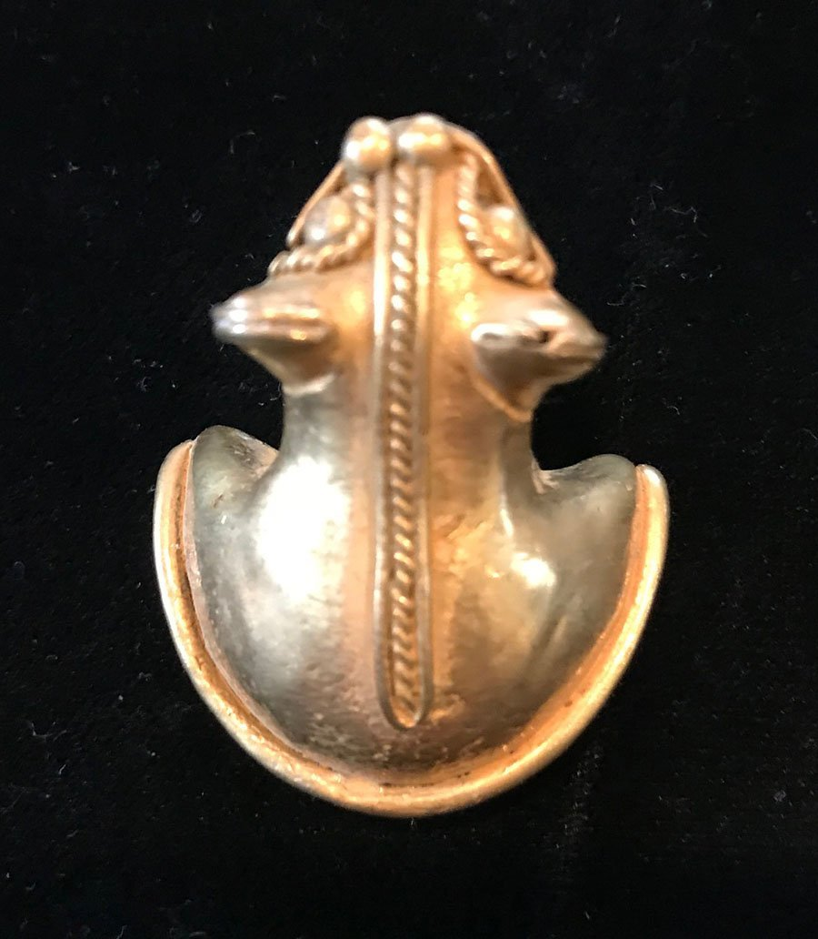 """1"""" H.  Tairona Effigy Pendant.  Gold content unknown."""