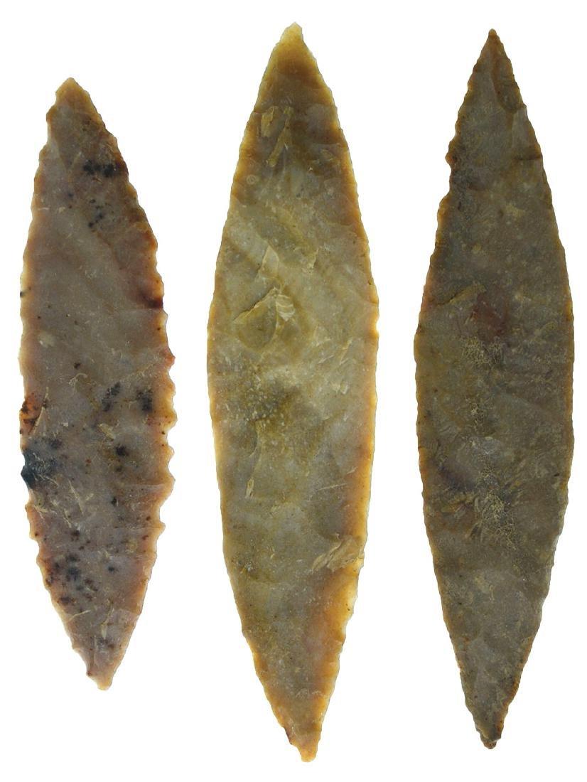 """Three Willow Leaf Blades (2 1/2""""- 3 1/8"""").  Ex-Earl"""