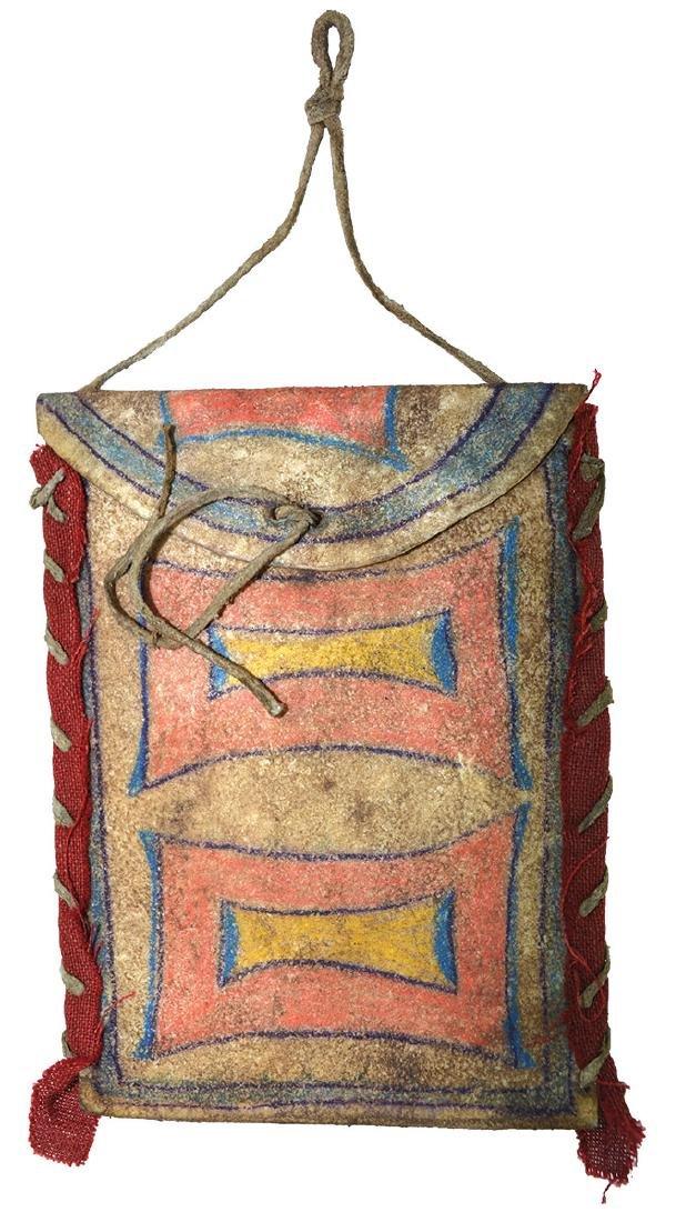 """Pair of Plains Indian Parfleche Bags.  4"""" x 6"""".  Cloth"""