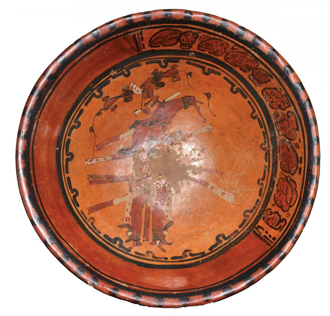 """12 1/4"""" D. Mayan Plate.  MX.  Late Classic Period."""