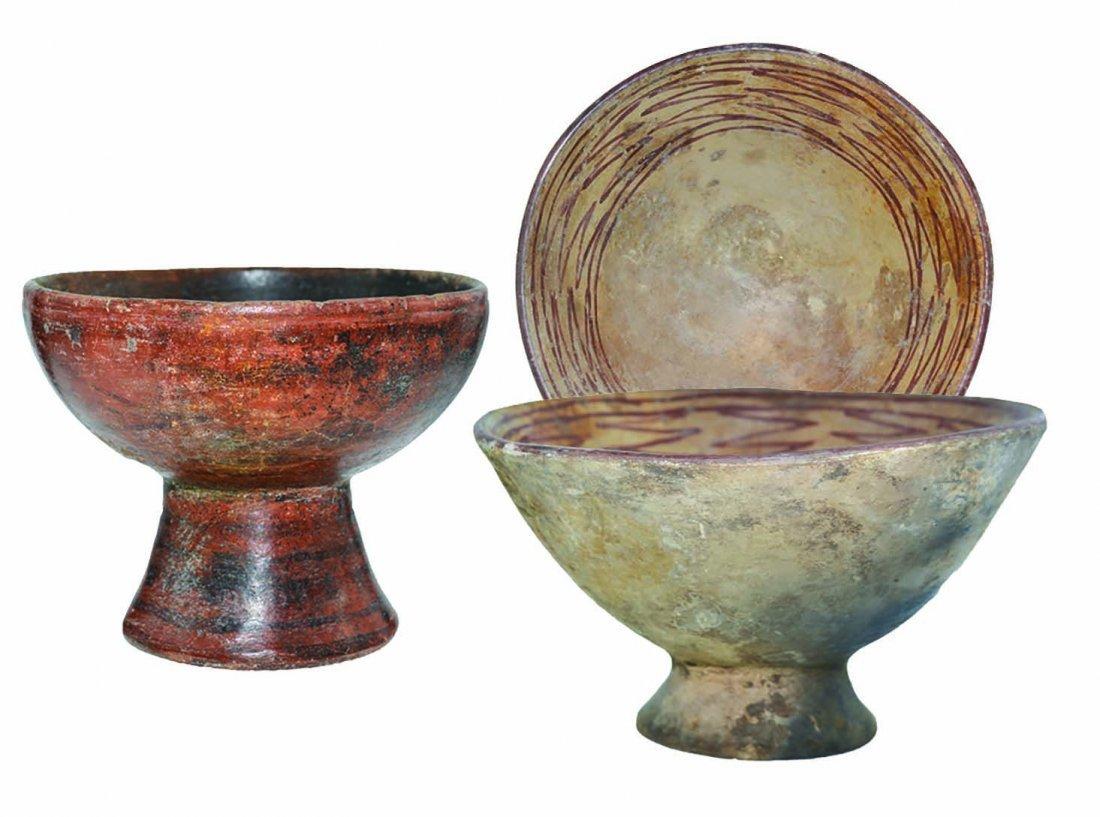 Two Peruvian Bowls:   Pedestal Bowls. Solid