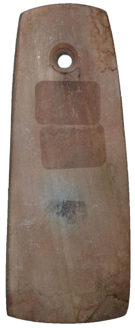 "3 5/8"" Slate Pendant.  Weathered brown slate.  Well - 2"