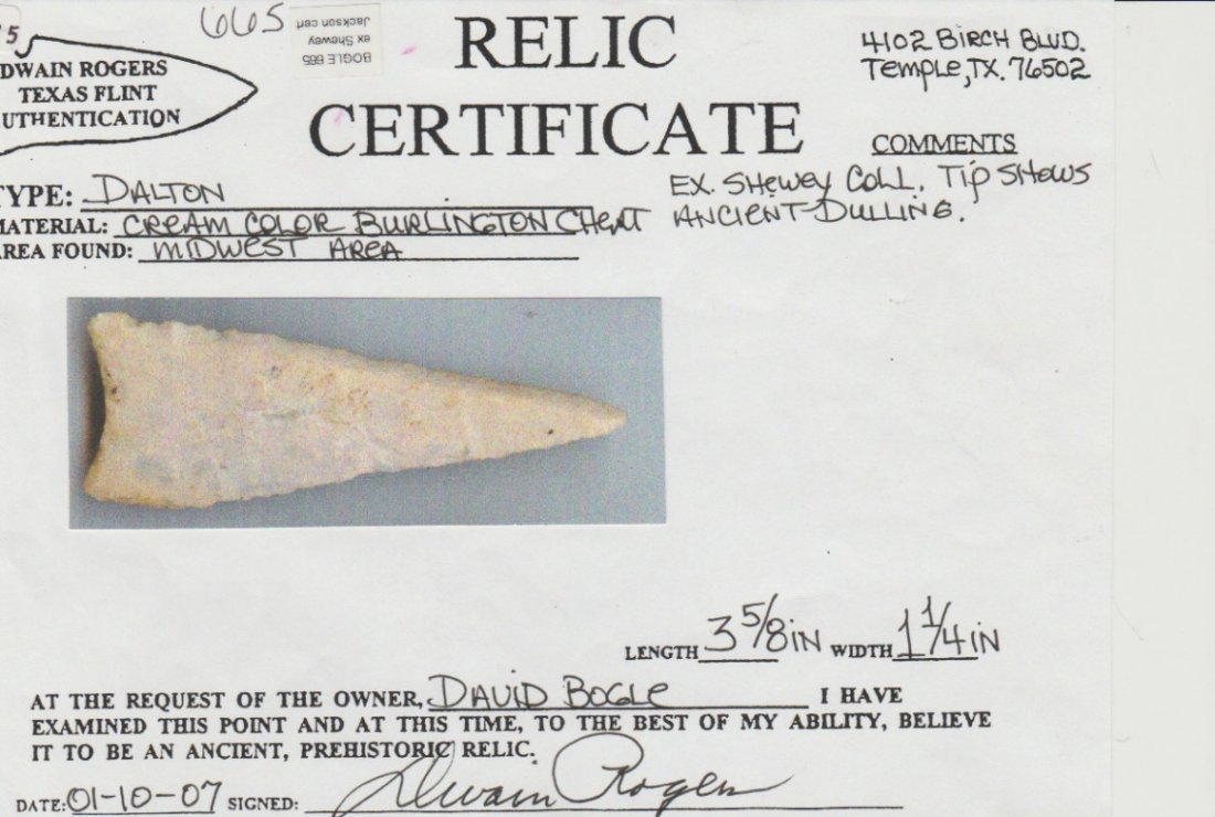 "3 5/8"" Beveled Dalton.  Rogers COA.  IL/MO.  Crescent - 3"