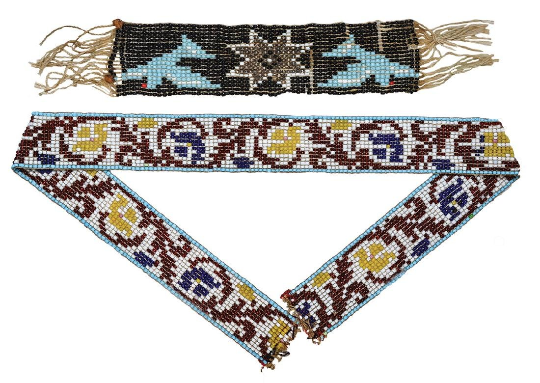 """Two older Beaded Pieces.  Band (6"""") and Sash (20"""")."""