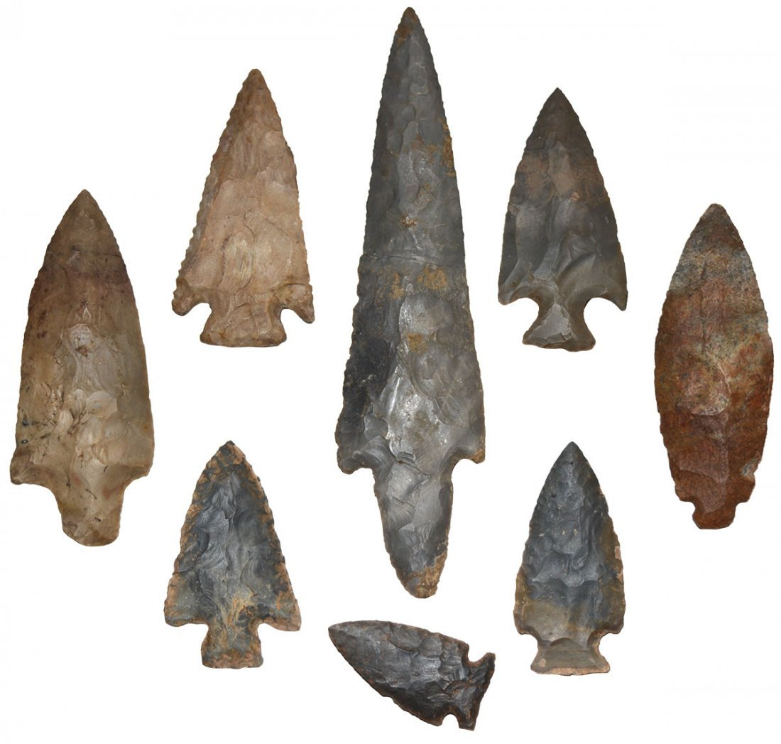"""Group of 8 Points.  2"""" -7 1/4"""".  Most from Watts Cave"""