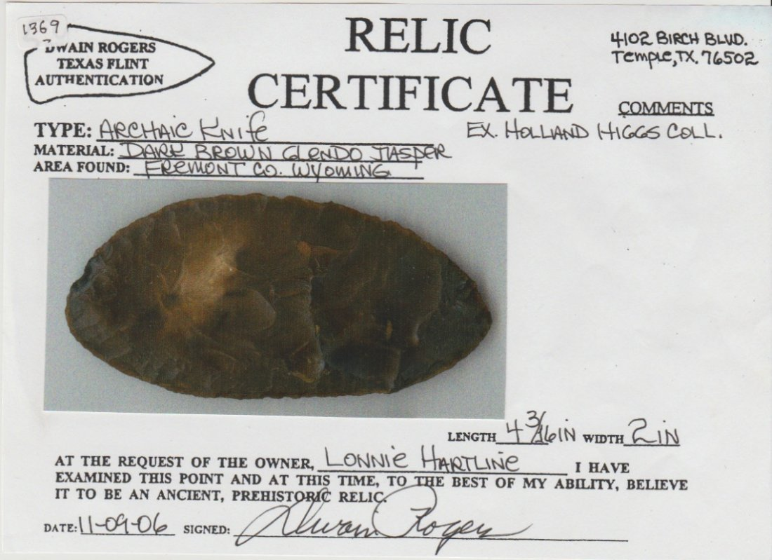 """4 3/16"""" Archaic Knife.  Fremont Co, WY.  Rogers COA. - 3"""