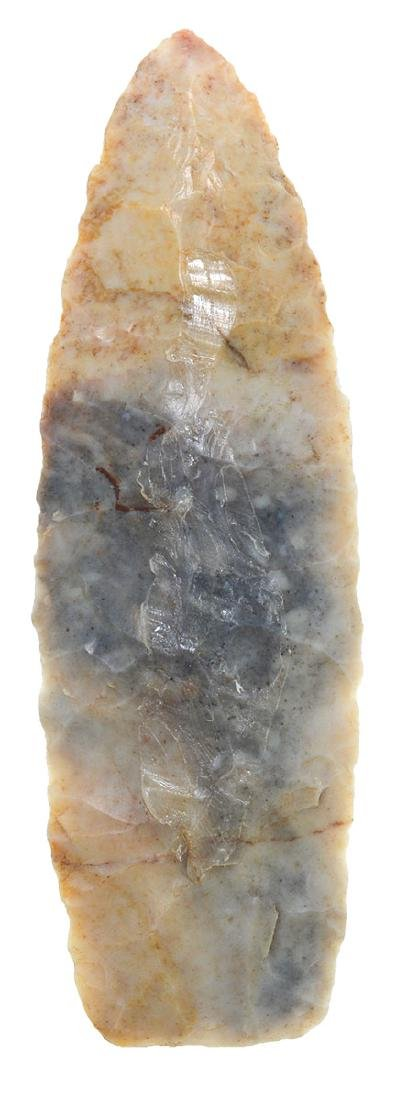 "3 11/16"" Paleo Lance.  OH.  Blue and white Flintridge. - 2"