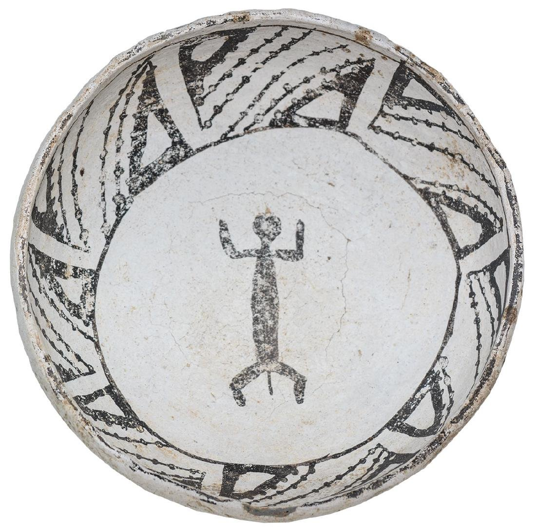 """6 1/8"""" Mimbres Bowl with animal figure in bottom.  NM."""