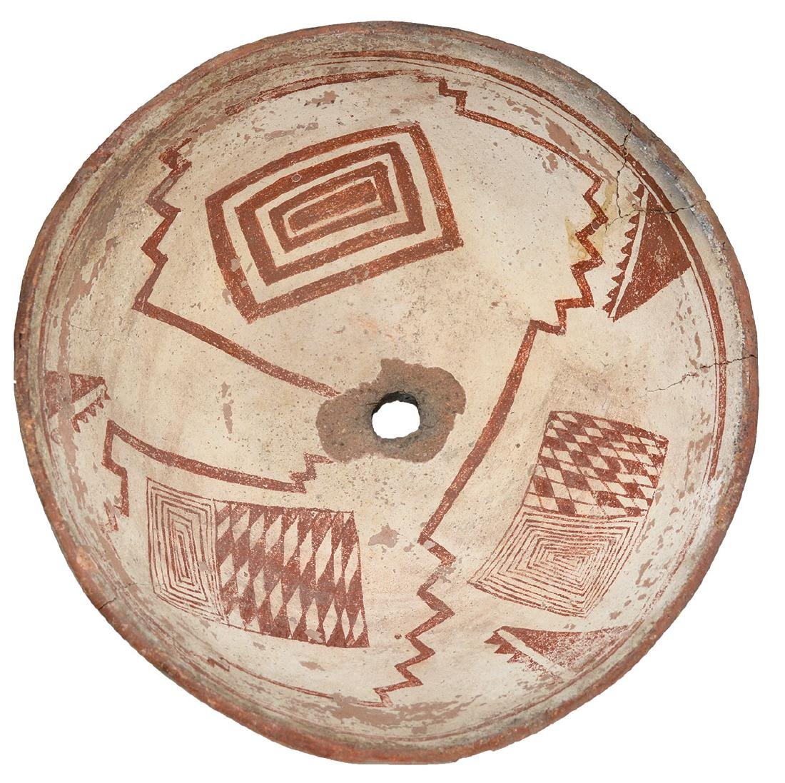 """8 11/16"""" D. Mimbres Picture Bowl.  NM.  Red paint, Rug"""