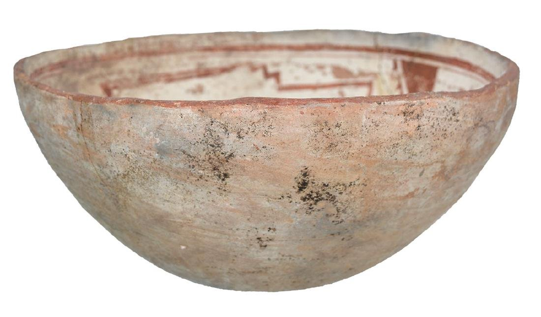"""8 11/16"""" D. Mimbres Picture Bowl.  NM.  Red paint, Rug - 2"""