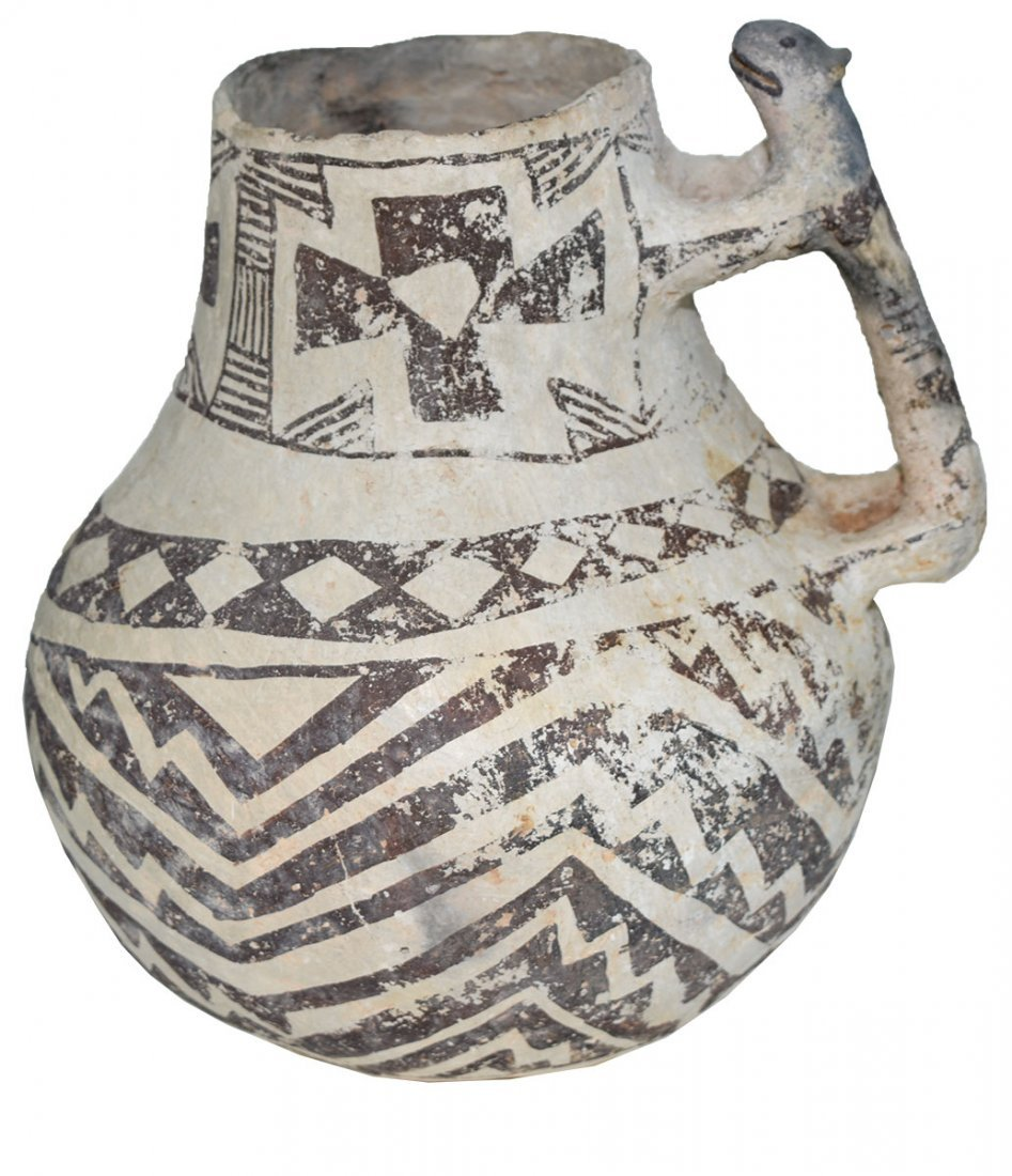 "8"" H. Tularosa  Anasazi Pitcher with animal handle."