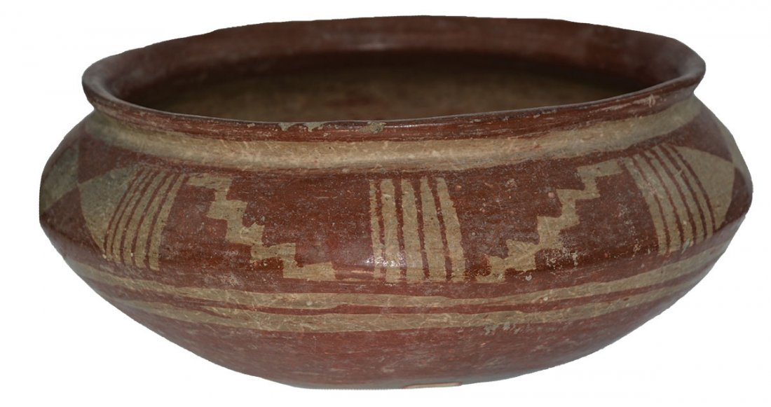 "9 3/8"" D.  Pre-Columbian Bowl with geometric designs."