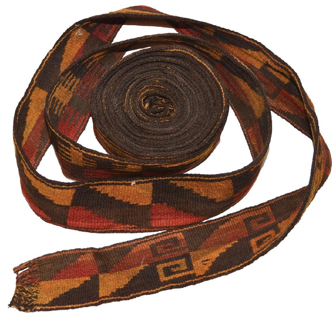 "Nazca Ceremonial Belt.  12' long and 2"" wide.  Peru."