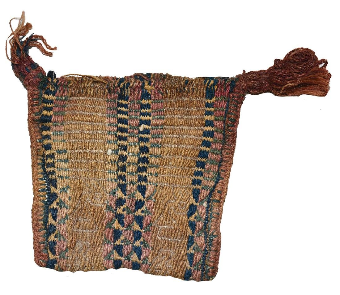 """Two Chancay Items; Small textile bag (3 1/2"""") and Sling - 2"""