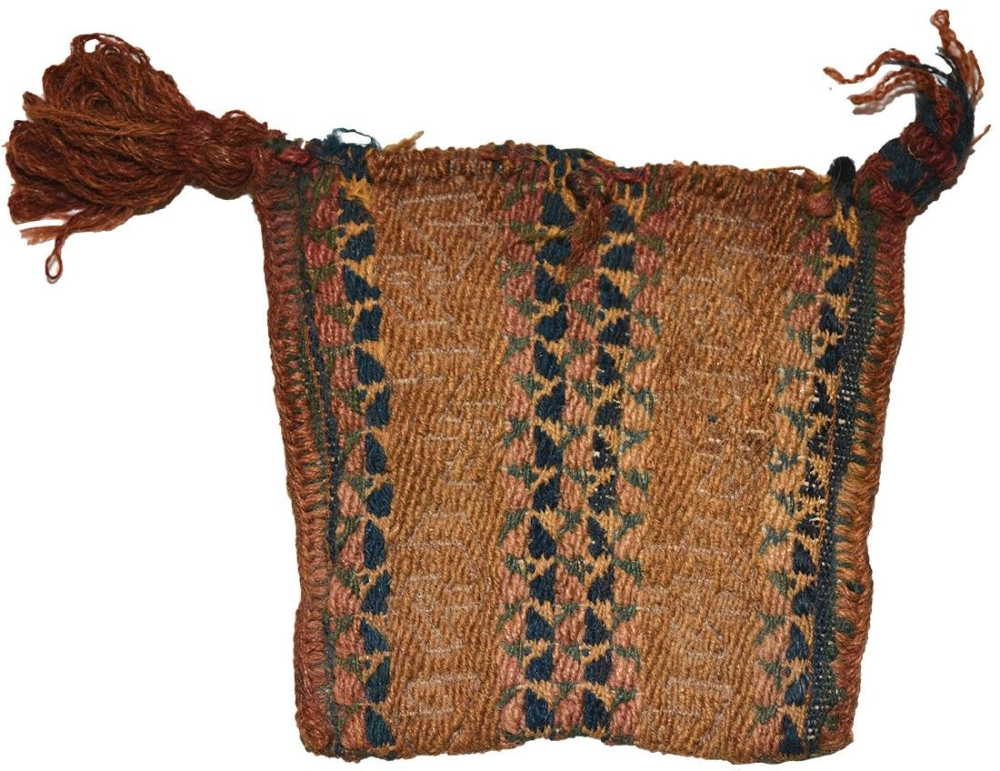 """Two Chancay Items; Small textile bag (3 1/2"""") and Sling - 3"""