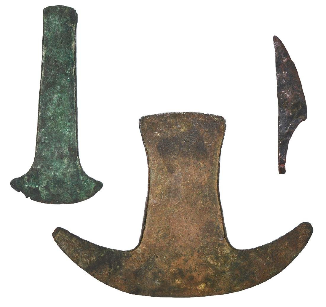 "2 Peruvian Copper Axes (4 5/8"") and small Dagger Blade"