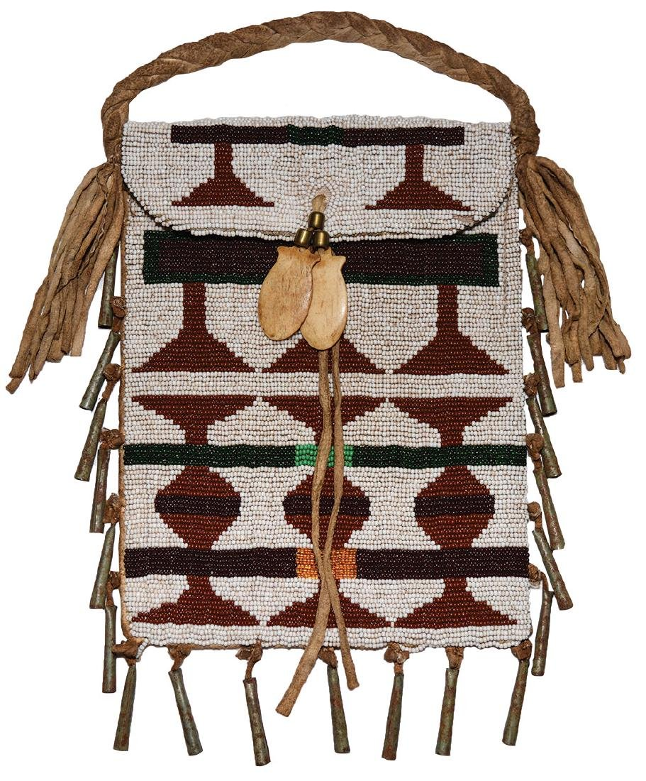 "8"" (bag only) Beaded Leather Strike A Lite Bag."