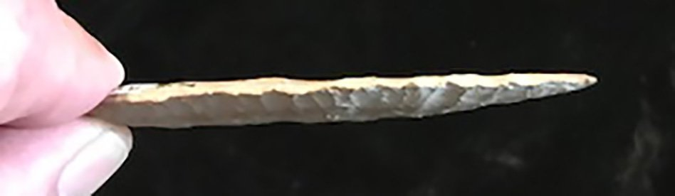 """3 5/16"""" Agate Basin.  Henry Co, IA.  Well flaked with - 3"""