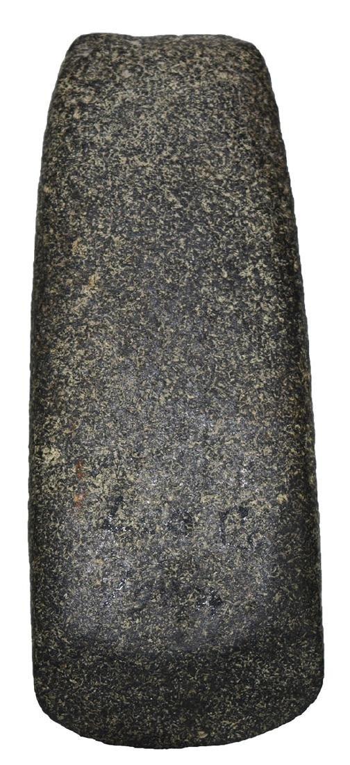 """4 5/8"""" Square Pole Celt.  Lee Co, IA.  Polished black"""