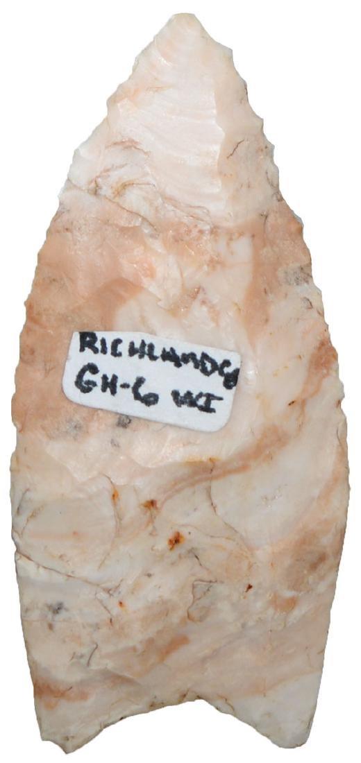 "2 3/16"" Unfluted Clovis.  Richmond Co, WI.   Ex-Gene - 2"