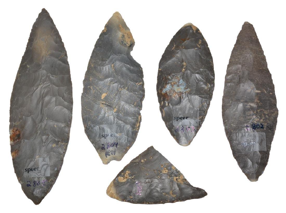 "Cache of 4 Adena Blades and 1 piece (2 5/8""-5 3/8""). - 2"