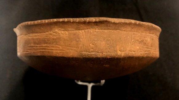 """5 1/4"""" D. Caddo Engraved Bowl. Ex-Dr. Jim Cherry.   AR. - 4"""