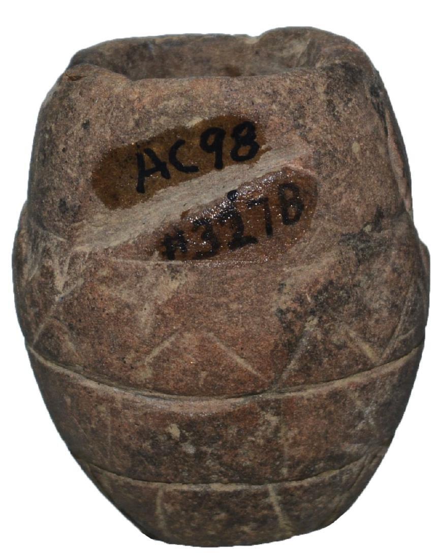 "2"" Engraved Stone Pipe Bowl.  TN.  Ex-Gary Noel, Dr."