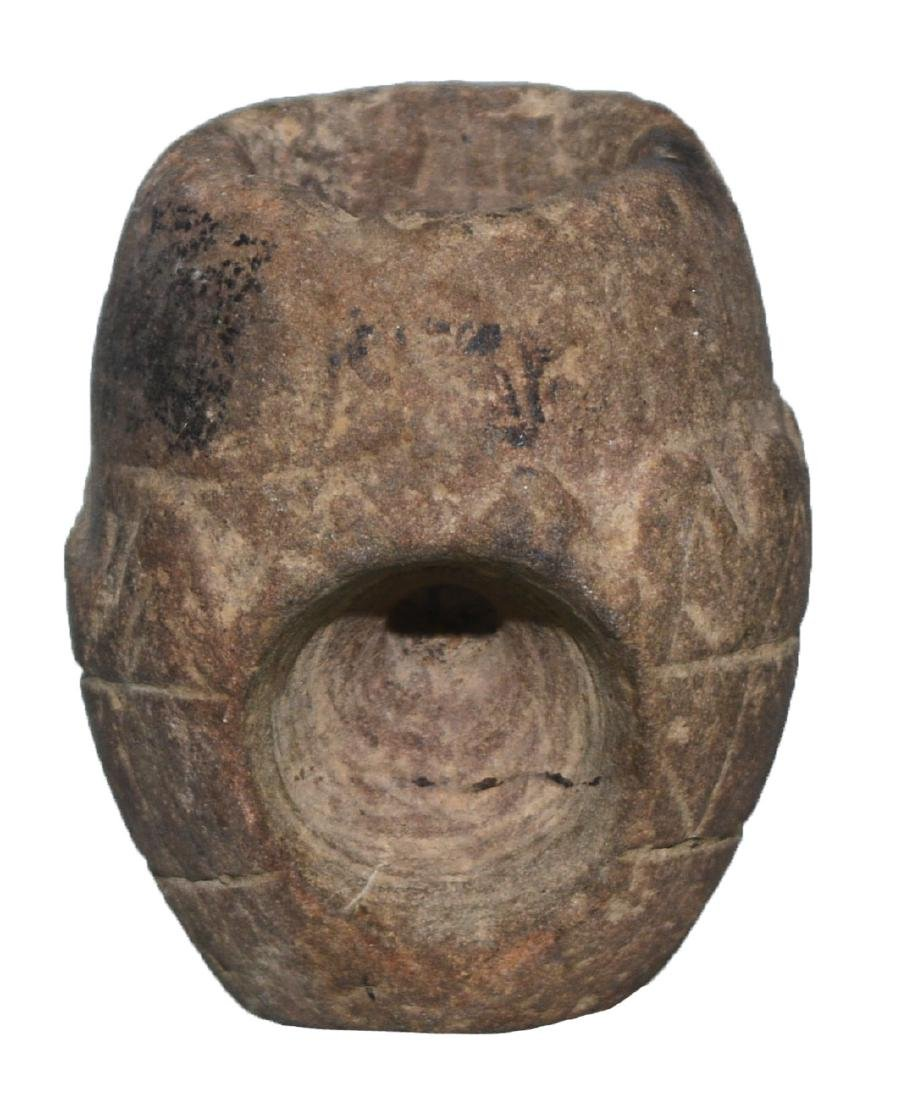 "2"" Engraved Stone Pipe Bowl.  TN.  Ex-Gary Noel, Dr. - 3"