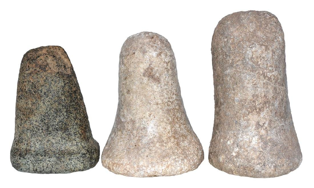 """3 Pestles.  5 1/4"""" (Glover's Cave), 4 3/8"""" (KY), 4 1/8"""""""