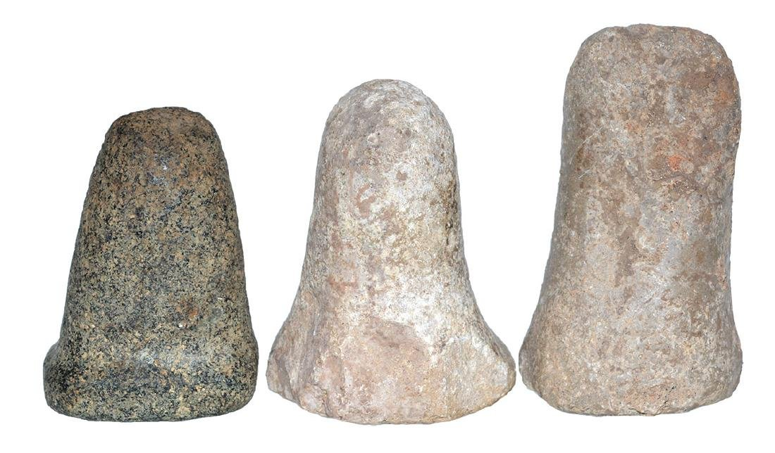 """3 Pestles.  5 1/4"""" (Glover's Cave), 4 3/8"""" (KY), 4 1/8"""" - 2"""