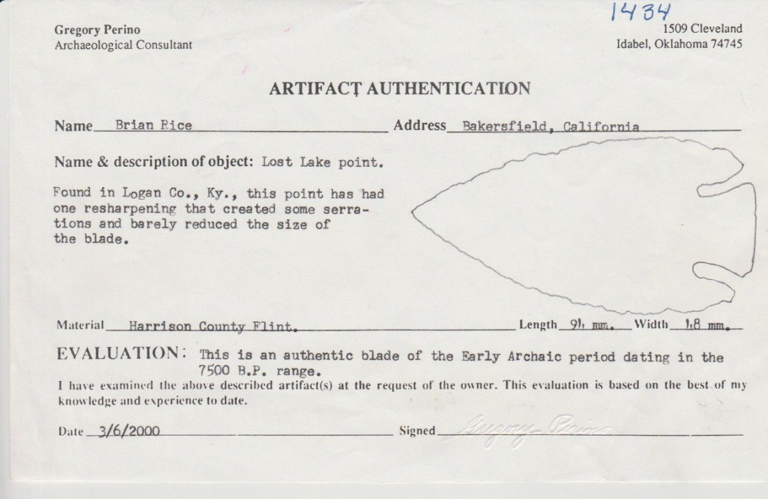 "3 3/4"" Lost Lake.  Logan Co, KY.  Perino COA.   Ex-Tom - 3"