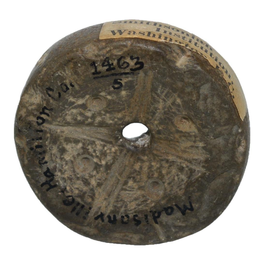 "1 3/4"" Engraved Ft. Ancient Discoidal.  Ex-Dr. Gordon"