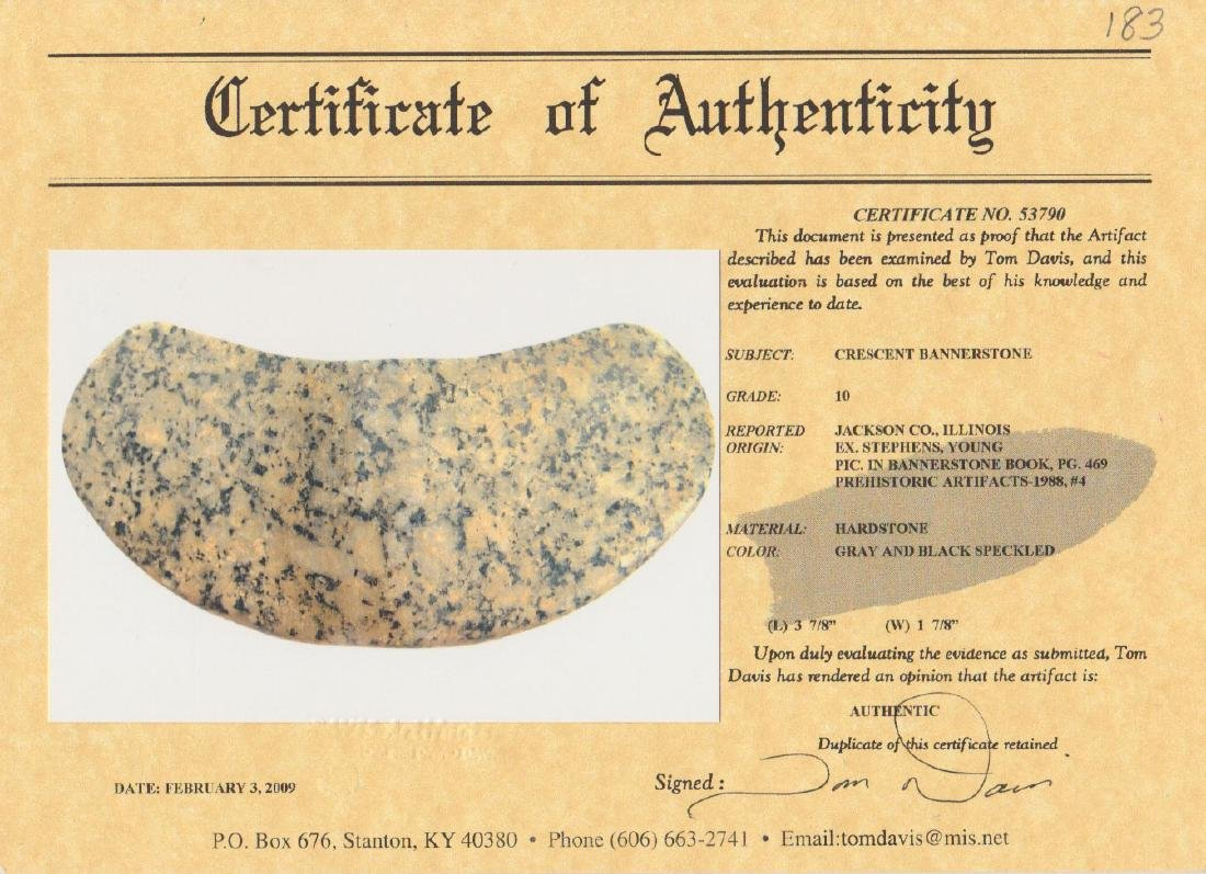 """3 7/8"""" Hardstone Crescent Bannerstone.  Pictured in - 6"""