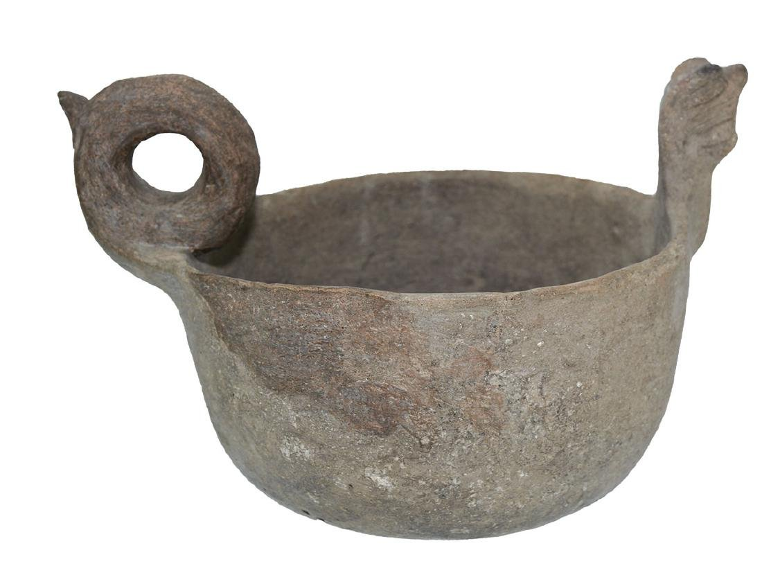 "10"" Cat Serpent Effigy Bowl.  Good condition. - 4"