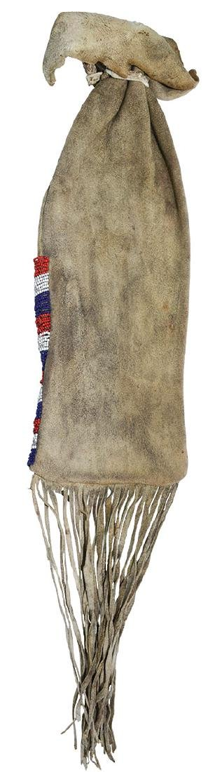 Beaded Leather Pipe Bag.   Older Iroquois example
