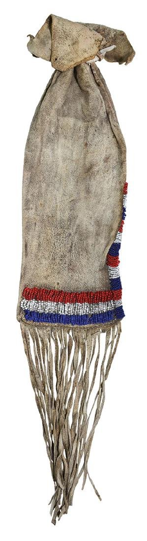 Beaded Leather Pipe Bag.   Older Iroquois example - 2