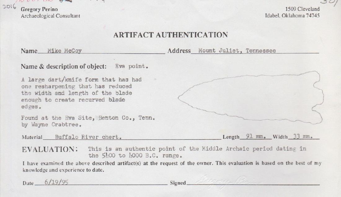 "3 5/8"" Eva.  Benton Co, TN.  Found on Eva Site.  Perino - 3"