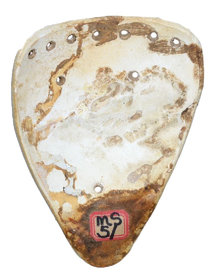 """2 3/8"""" Engraved Shell Mask.  Jackson COA.  Smythe Co, - 2"""