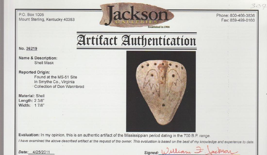 """2 3/8"""" Engraved Shell Mask.  Jackson COA.  Smythe Co, - 3"""